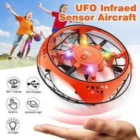 Muwanzhi מיני מעופף מסוק UFO RC Drone יד חישה מטוסים עם 6 LED אורות אלקטרוניים Quadcopter flayaball צעצוע לילד
