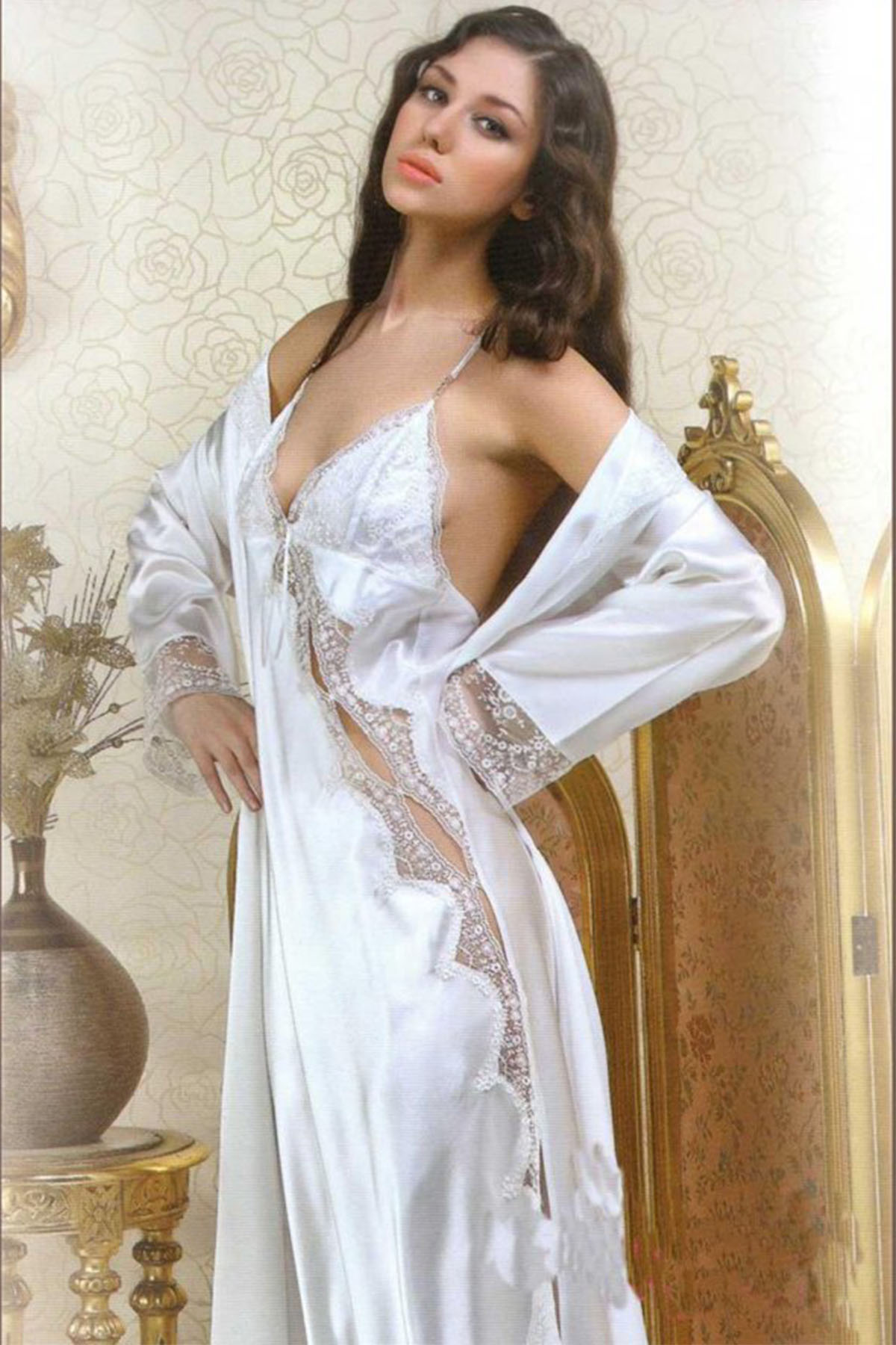 Espuar Women 1190 Silk Satin Ruched At Night At Home Casual Worn Negligee Nightgown and Pajama set Sizes S M L XL