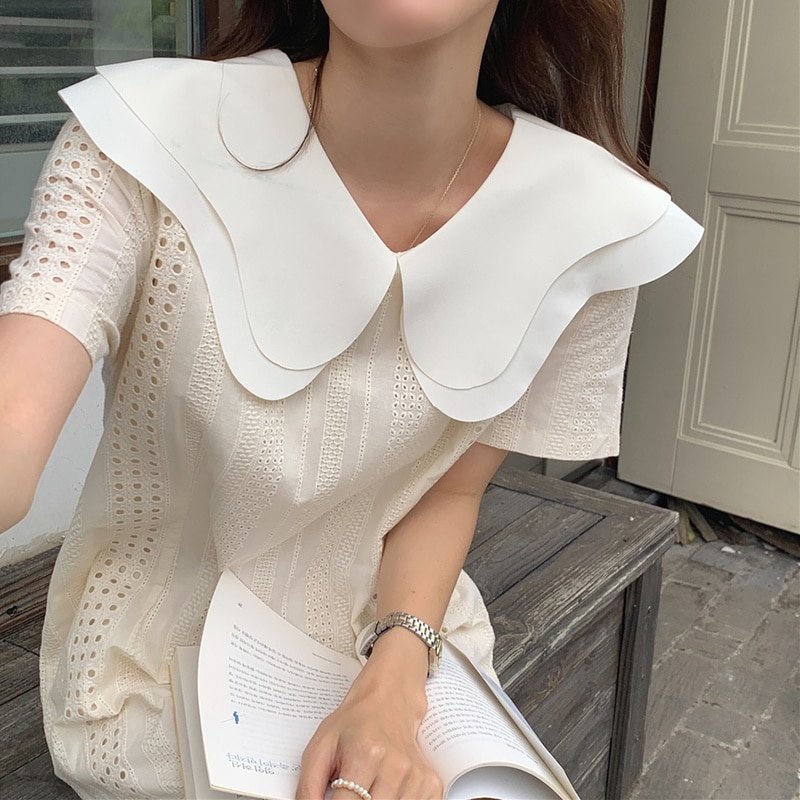 Korean Chic Soft Cream Apricot Double Layer Baby Collar Irregular Wave Edge Hollow Lace Hook Flower