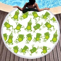 frog dancing square dance round beach towel 3d print home room shower bath microfiber travel cloth yoga blanket swimming cover