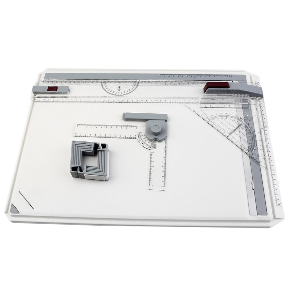 Portable A3 Drawing Board Draft Painting with Parallel Rulers Corner Clips Head-lock Adjustable Angle Art Draw Tools