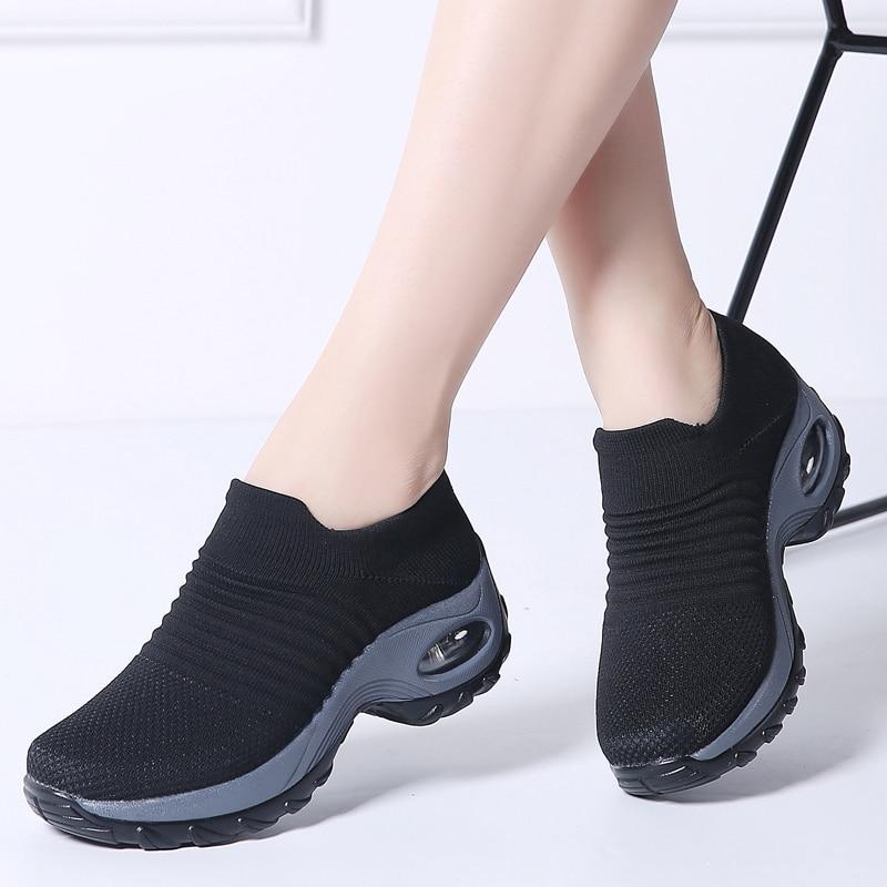 Women autumn sneakers sock shoes ladies flats platform shoes female breath mesh slip on tenis sneakers creepers shoes woman 1839