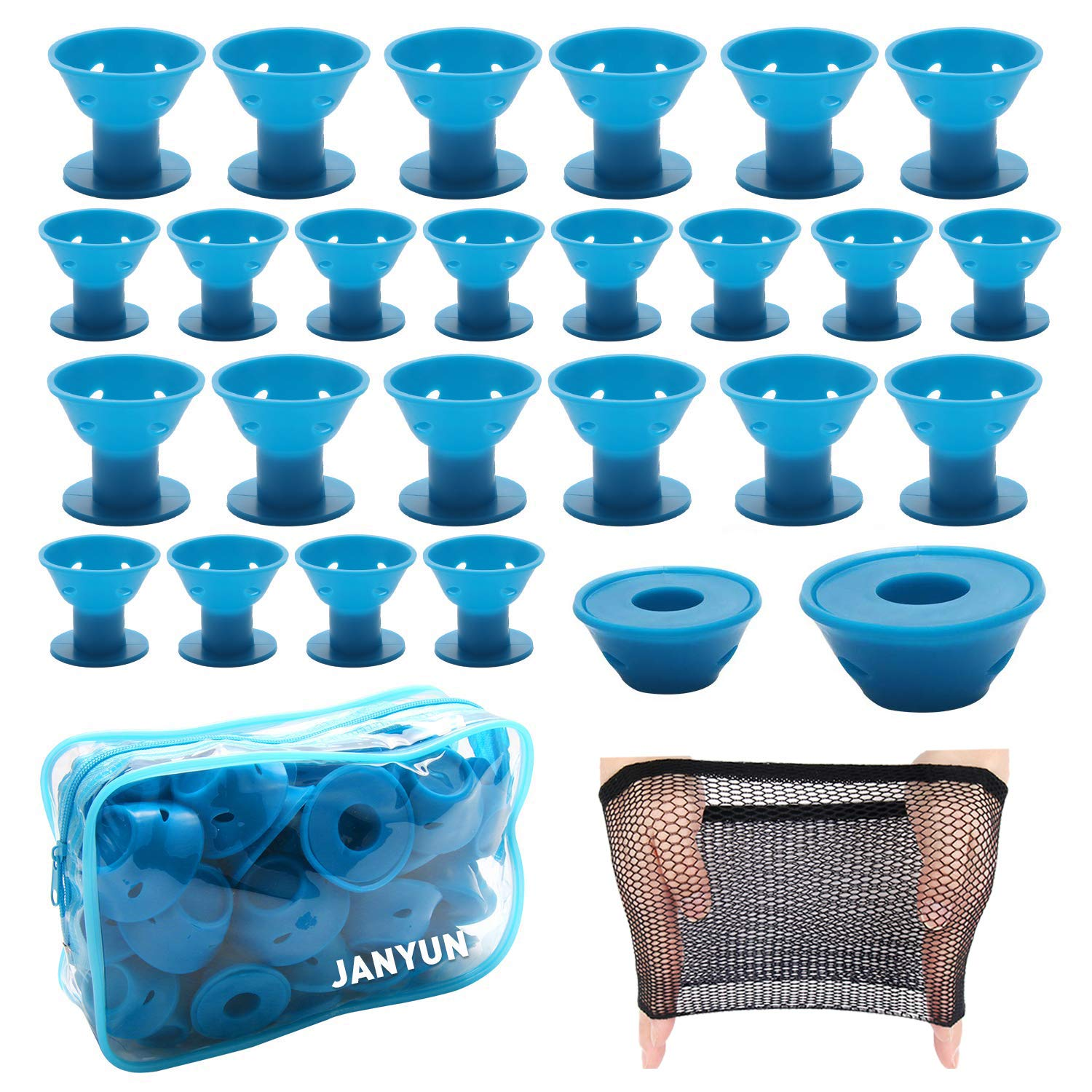 40 Pcs Blue Magic Silicone Hair Curlers with Bag and Hairnet Soft Rubber Magic Hair Care Rollers No