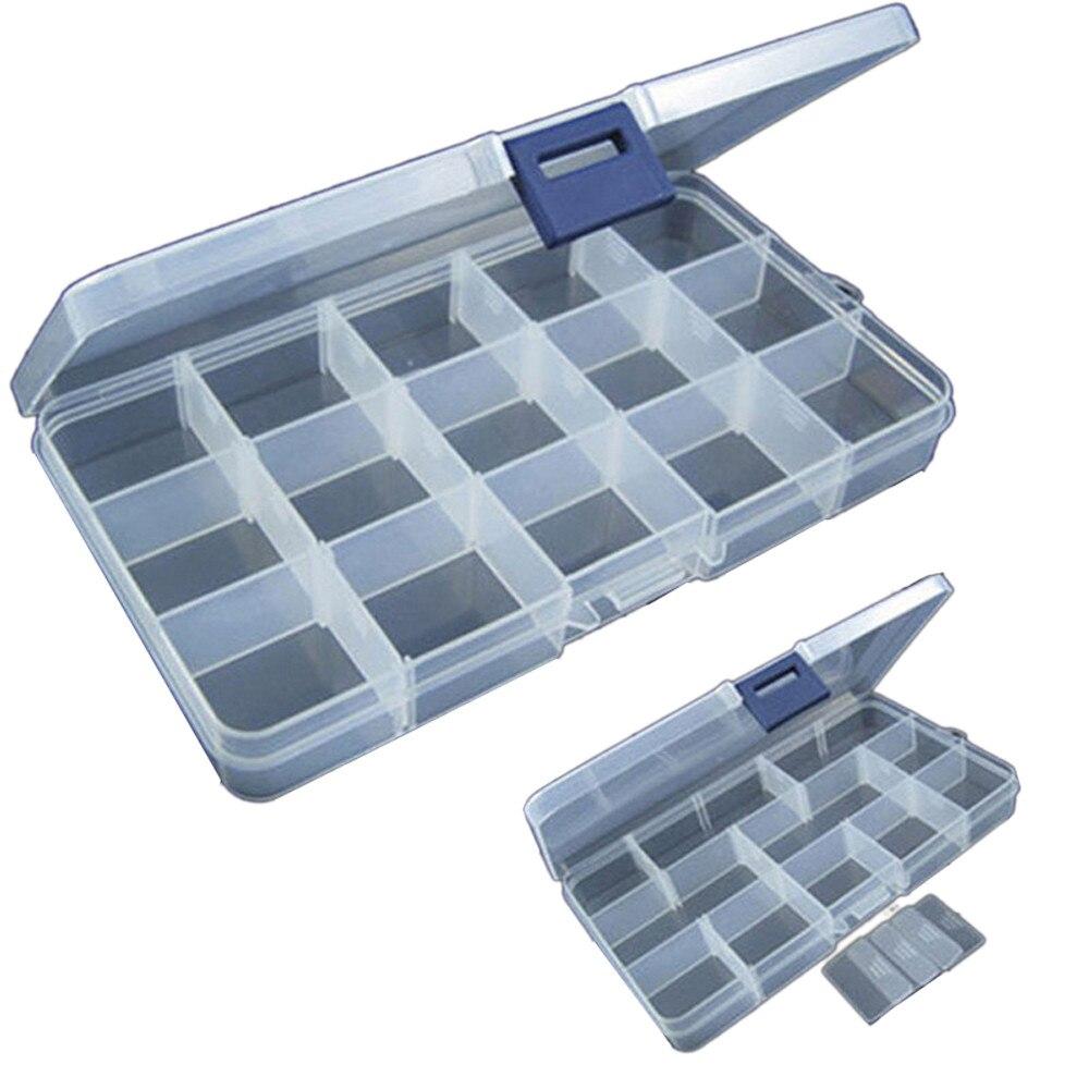 Caja de aparejos de pesca con 15 ranuras, anzuelo de pesca señuelo de plástico ajustable, caja de almacenamiento, caja organizadora para cosméticos # N