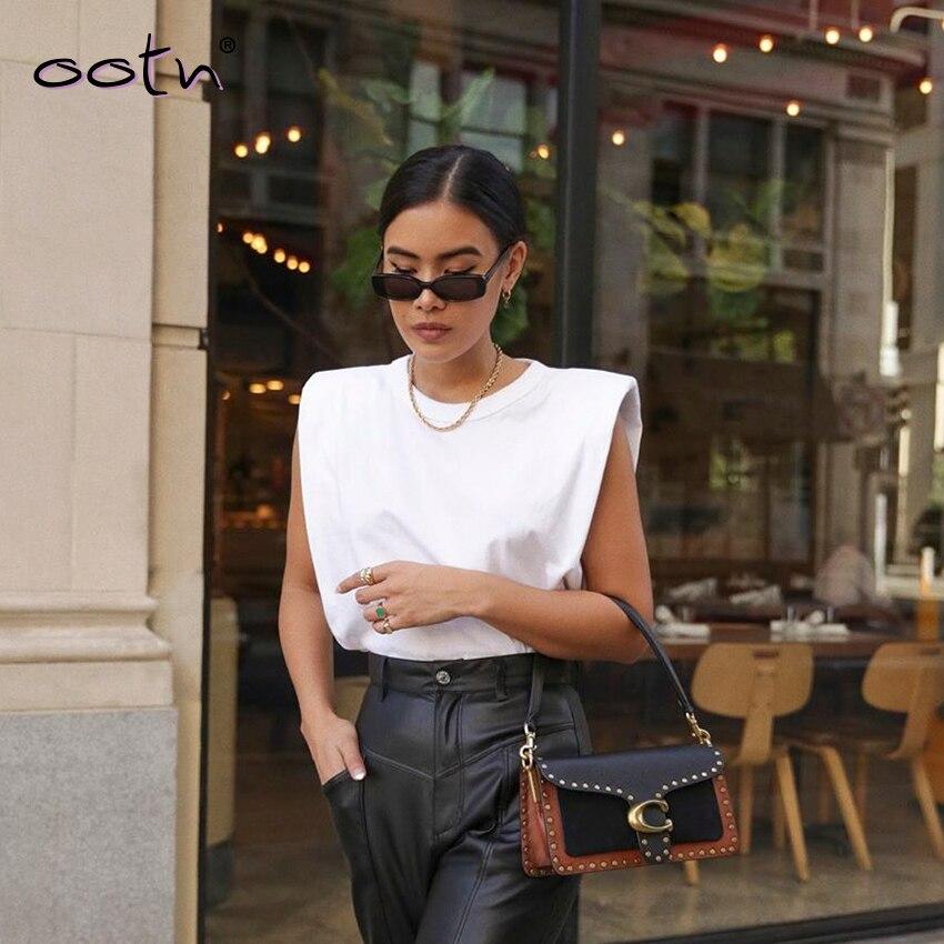 Primavera verão branco solto sem mangas topo feminino o pescoço camis casual básico esporte colete tops feminino streetwear tank tops knitte 2020