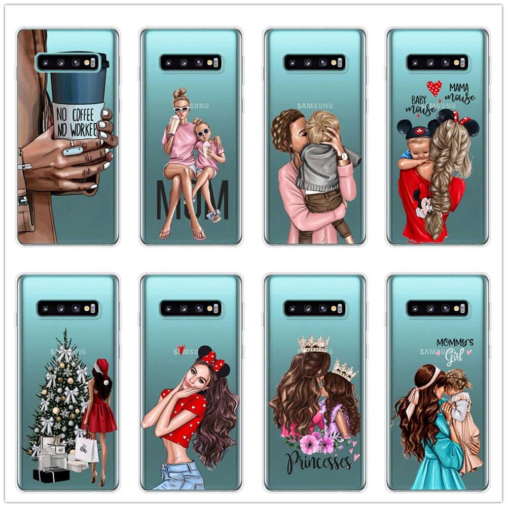 No Coffee Super Black Brown Hair Baby Mom TPU Cover Phone Cases For Samsung Galaxy S10 S10E S10Plus A750 A7 A6 Plus A8 Plus 2018