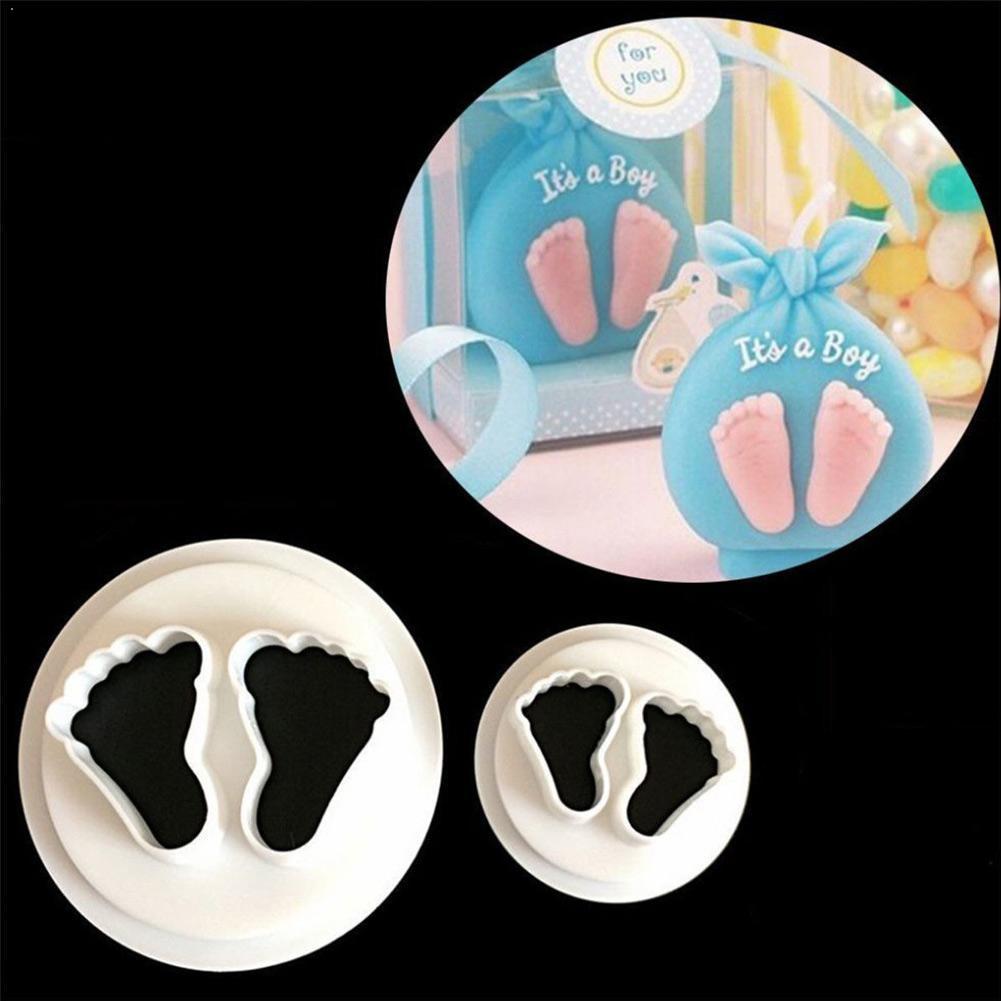 2Pcs/Set New Cute Baby Feet Fondant Cake Mold Sugar Bakeware Tool Baking Tools Tool DIY Craft Decorating Convenient Z6D3