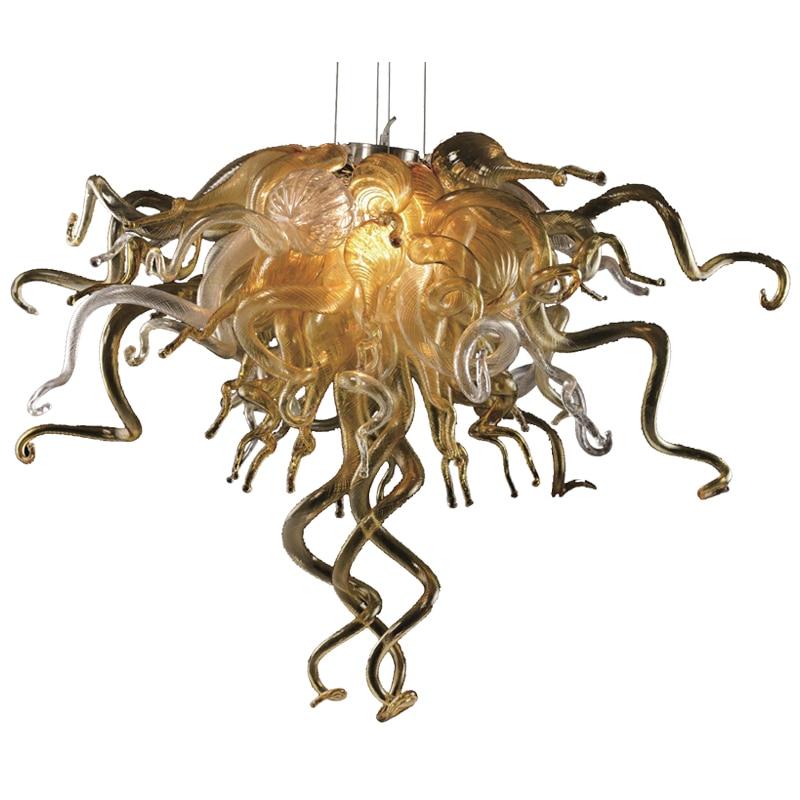 Hot البيع الثريات الحديثة الإضاءة الفن اليد الزجاج المنفوخ الثريا مصابيح LED أضواء ل ديكور غرفة نوم