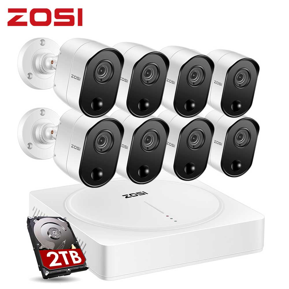 ZOSI 8CH 5MP DVR عدة PIR CCTV نظام الأمن مع 2 تيرا بايت HDD و 5MP الأشعة تحت الحمراء في الهواء الطلق كاميرا مقاومة للماء طقم مراقبة الفيديو