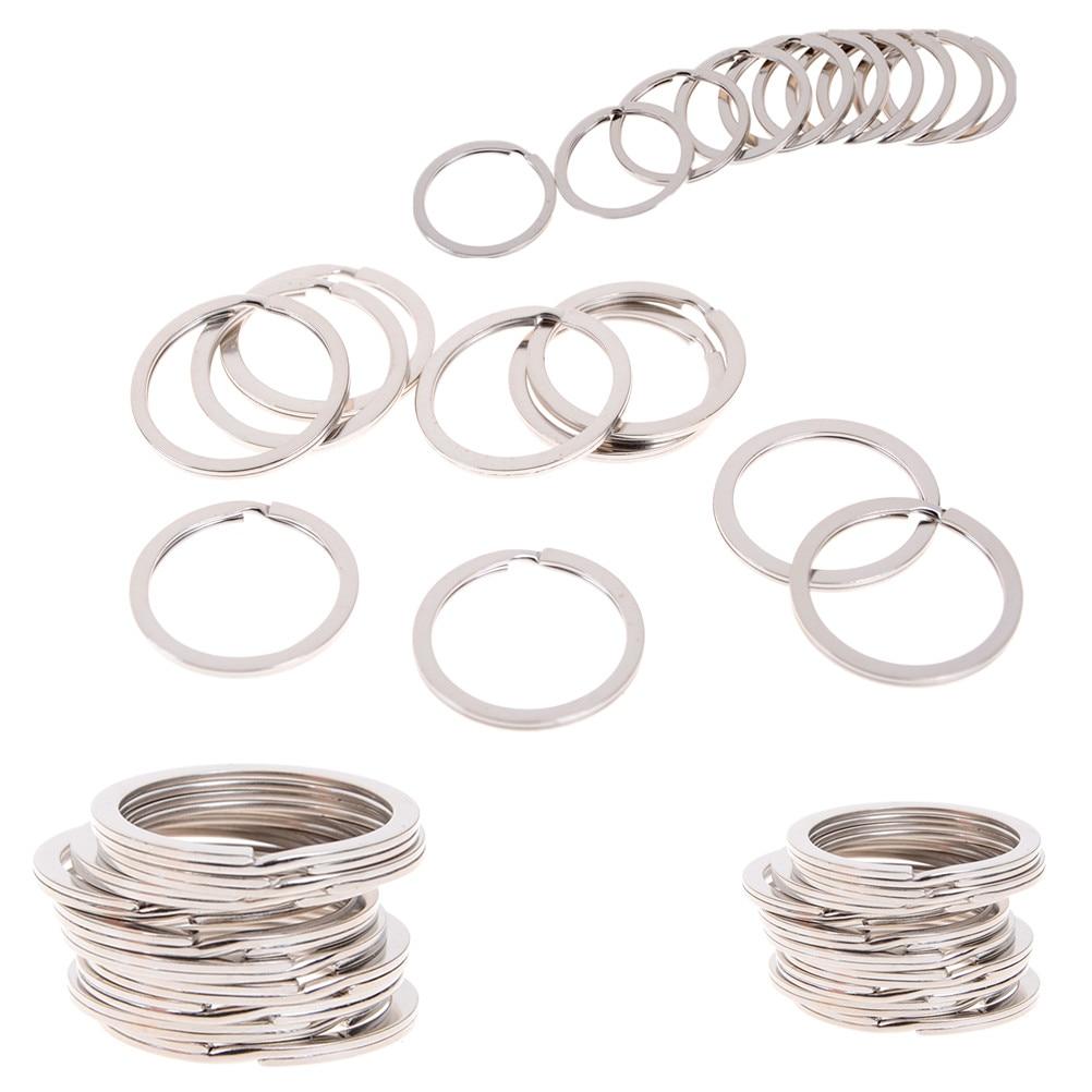 10pcs Polished Silver Color 25mm Women Men DIY Key Chains Accessories Keyring Keychain Split Ring