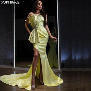 New Arrival Sexy Mermaid Evening Dresses 2021 Side Split Beaded Ctystals Strapless Satin Celebrity Evening Gown Vestidos