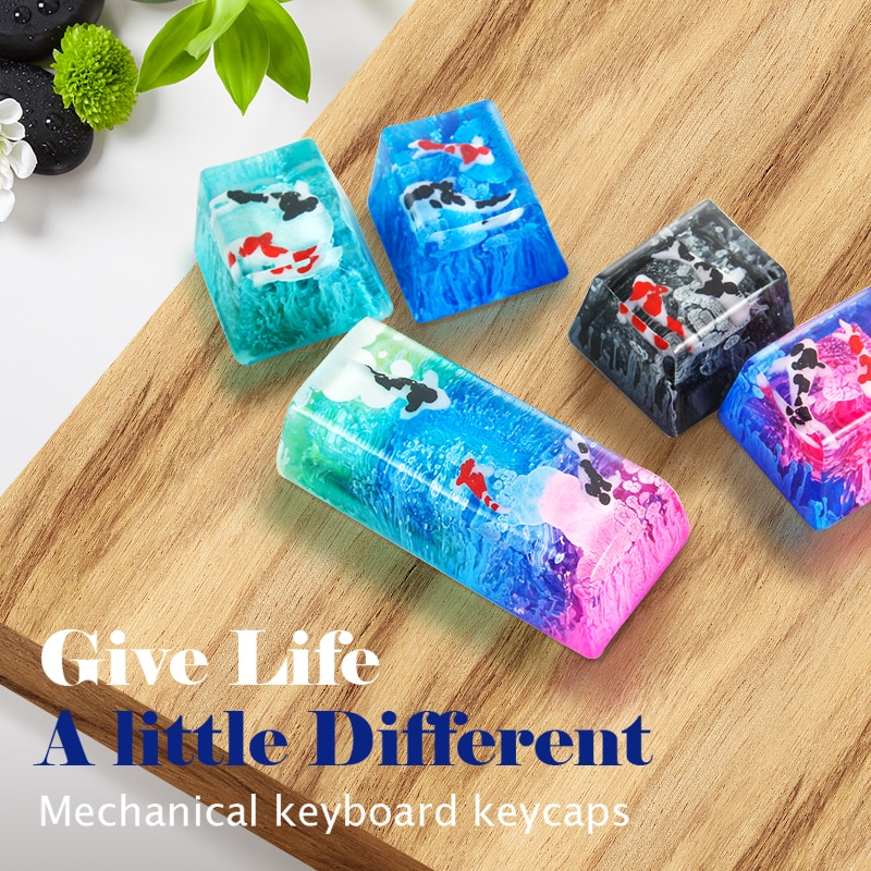 AliExpress - Scenery Koi Backspace Resin Keycaps For Cherry Mx Switch Mechanical Gaming Keyboard Keycaps Replace Hand Made Keycaps
