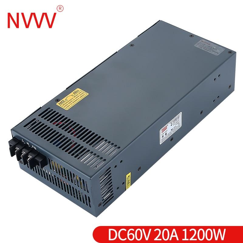 NVVV s-1200w-60v 20A planta de energía de conmutación vende directamente suficiente potencia