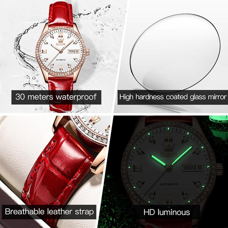 OLEVS New Fashio Red Strap Automatic Mechanical Watch Ladies Luxury Diamond Calendar Luminous Pointer Waterproof Watch Women enlarge