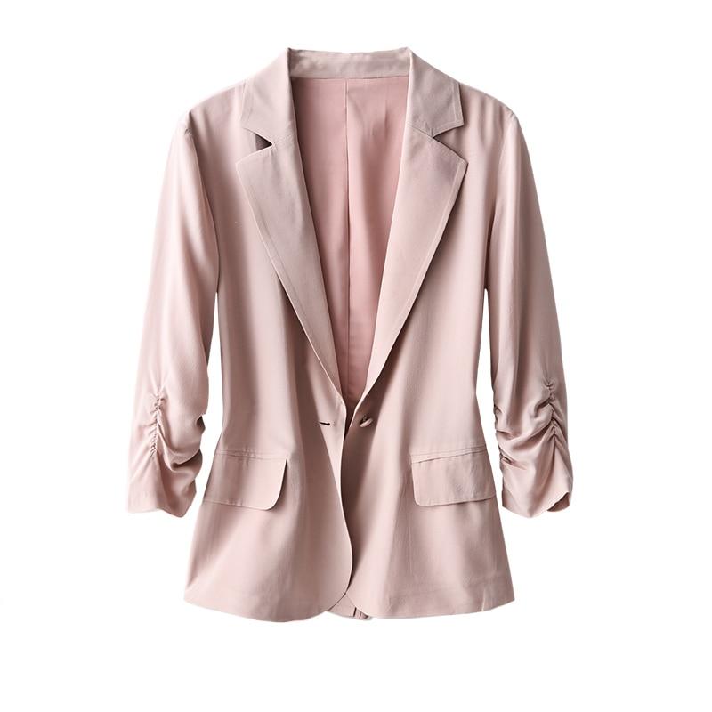 SHUCHAN Natural Silk Women Blazer Office Lady Formal Young Style Elegant Fashion Single Button Notched Three Quarter Sleeve