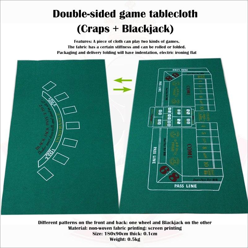 De doble cara mantel para juego de tela no tejida de los dados y juego de Blackjack Mat mesa de Poker de 90x180cm