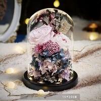 romantic eternal flower light rose flower glass cover led battery lamp birthday valentines day mother gift home decoration