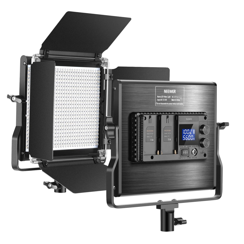 Neewer-مصباح فيديو LED ثنائي اللون مع لوحة إضاءة LED قابلة للتعديل 660 درجة ، مع شاشة LCD للاستوديو ، وتصوير فيديو YouTube