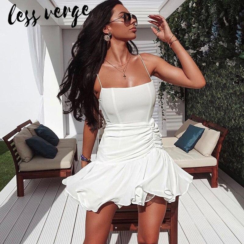 Vestido corto de Chifón con volantes lessverge, vestido blanco elegante sin mangas negro de otoño, vestido informal para mujer, Vestido de playa bohemio