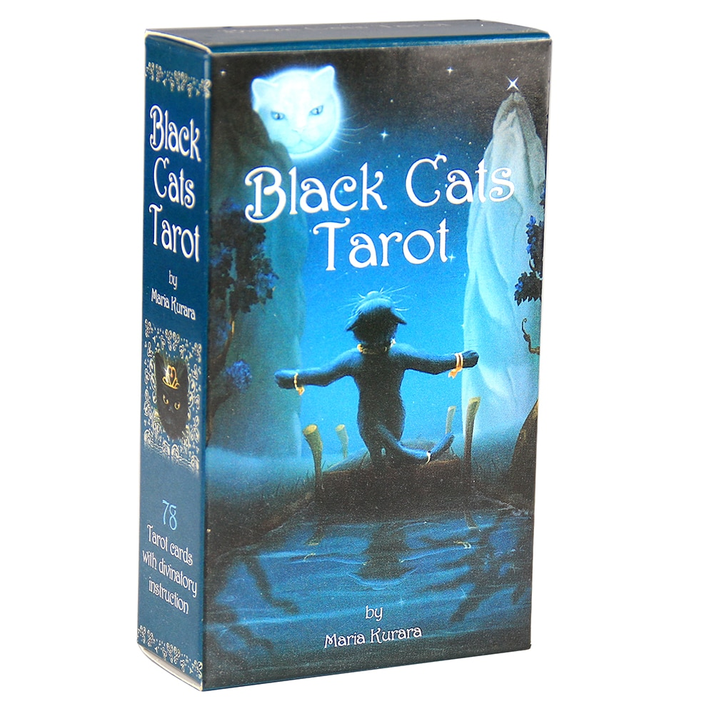 Black Cats Tarot Deck Cards Mundane and Mystical Oracle Cards Fortune Telling Divination Card Game dark wood tarot cards deck fortune telling divination card game