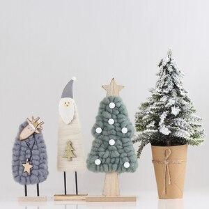 Christmas Decorations Dolls Home Decorations Innovative Elk Santa Snowman Wooden Hand Model Art Decors Shelf Ornaments EE5ZS