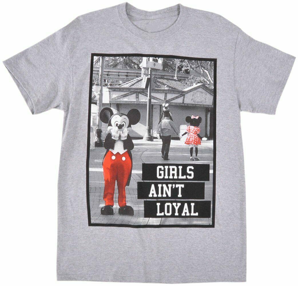 Mickey Aint Loyal camiseta gris auténticos clásicos parodia para hombre tamaño Unisex S-3Xl
