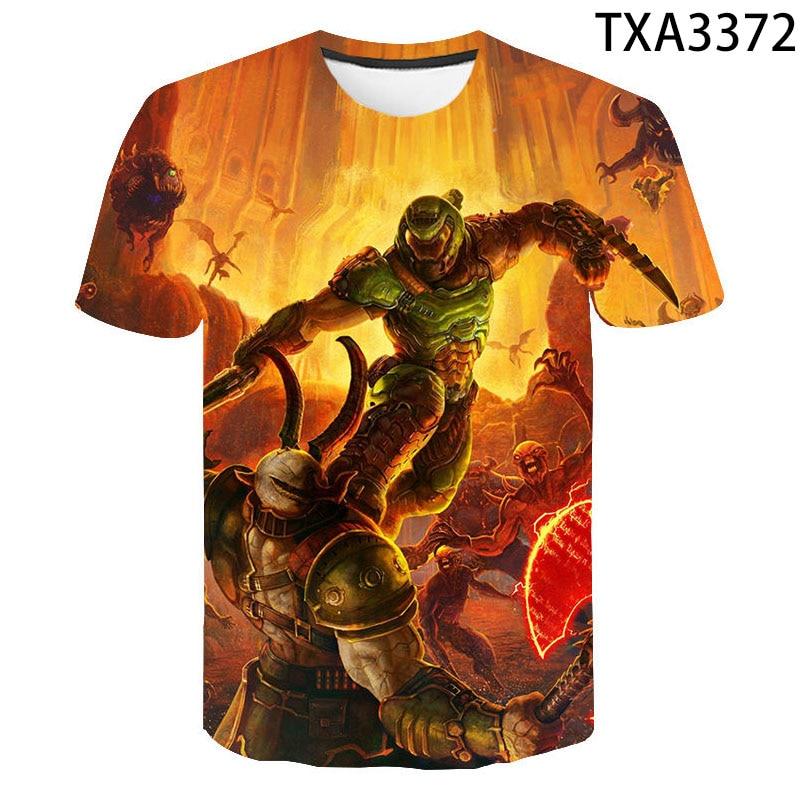 AliExpress - Summer 2021 Doom Eternal 3D Printed Game T-Shirt Fashion Streetwear Black Short-Sleeved Loose Plus Size Top