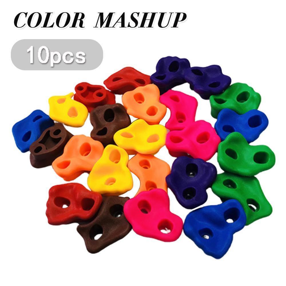 10Pcs Mixed Color Plastic Children Kids Rock Climbing Wood Wall Stones Hand Feet Holds Grip Kits W/ Screws Random Color