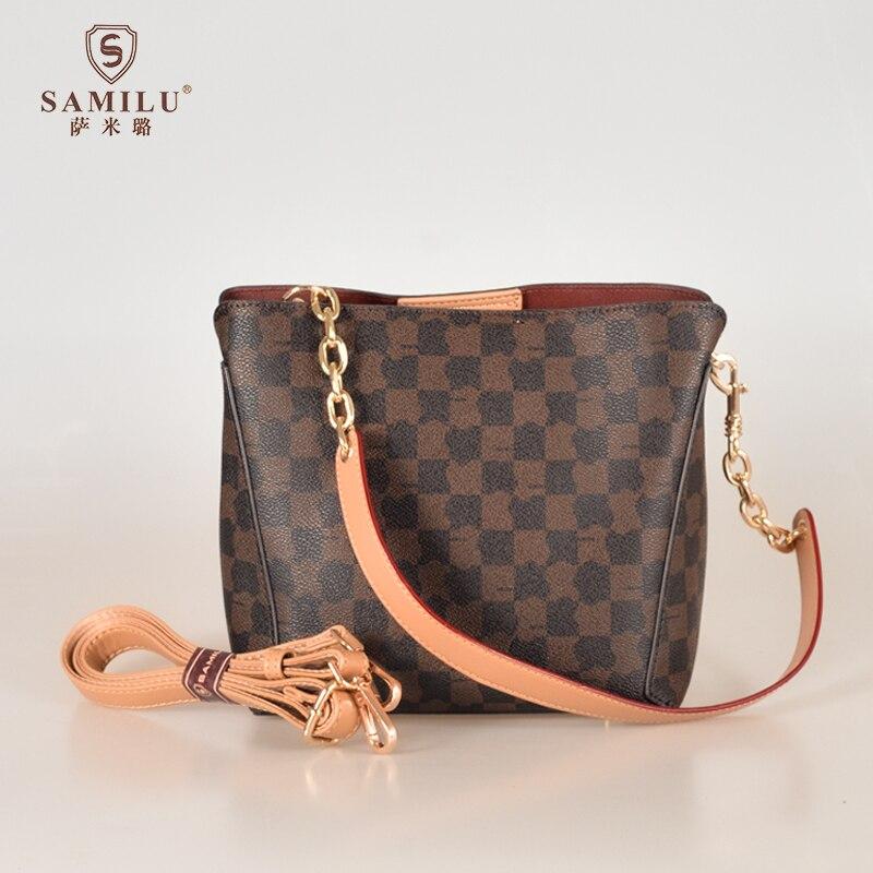 SaMiLu-حقيبة دلو PVC بنمط مربعات للنساء ، كتف عاري غير متماثل ، 2021