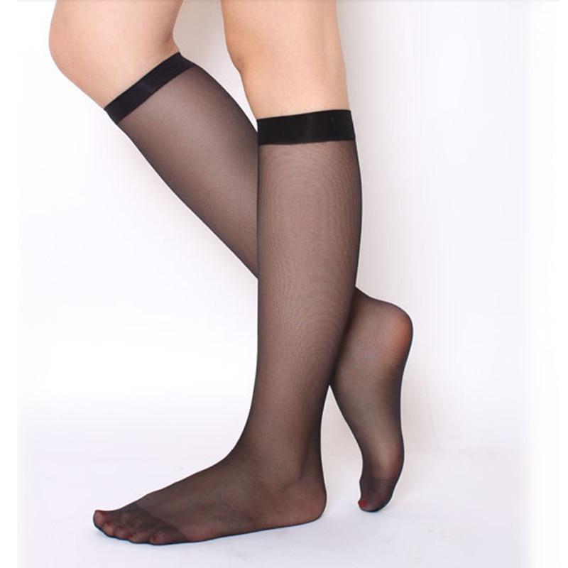 Calcetines modernos de nailon para mujer, 1 par/3 pares, medias Sexy ultrafinas, calcetines transparentes sólidos sobre la rodilla, calcetín de seda de cristal LXY531