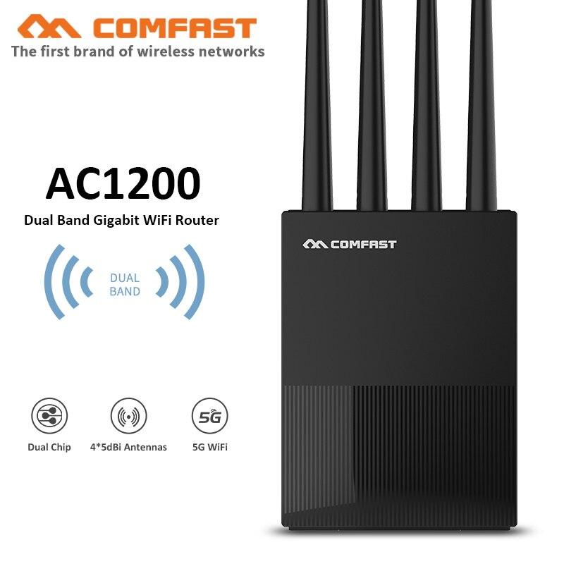 1200Mbps 2.4G&5Ghz Dual-band Gigabit Enterprise Router Universal Industrial Wireless Router with 4 antenna RJ45 home wifi router