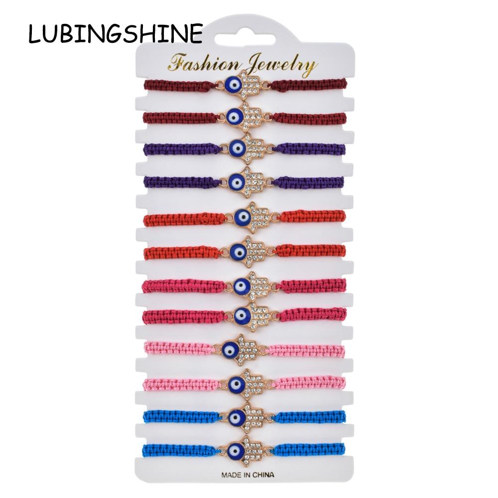 Women 12pcs/Set Fatima Hand Charms Braided Bracelet Adjustable Rope Chain Blue Turkish Evil Eye Rhinestone Wristband Jewelry