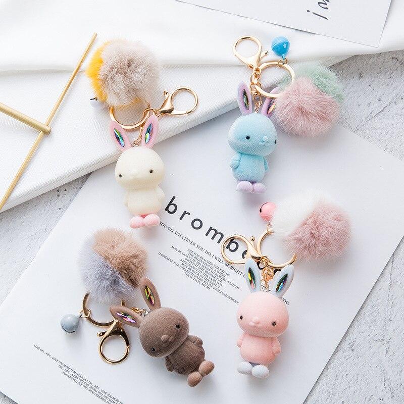 Bola de piel creativa de invierno joyería para muñecas llavero de dibujos animados flocado conejo llavero chica mujer bolsa colgante niños regalo barato