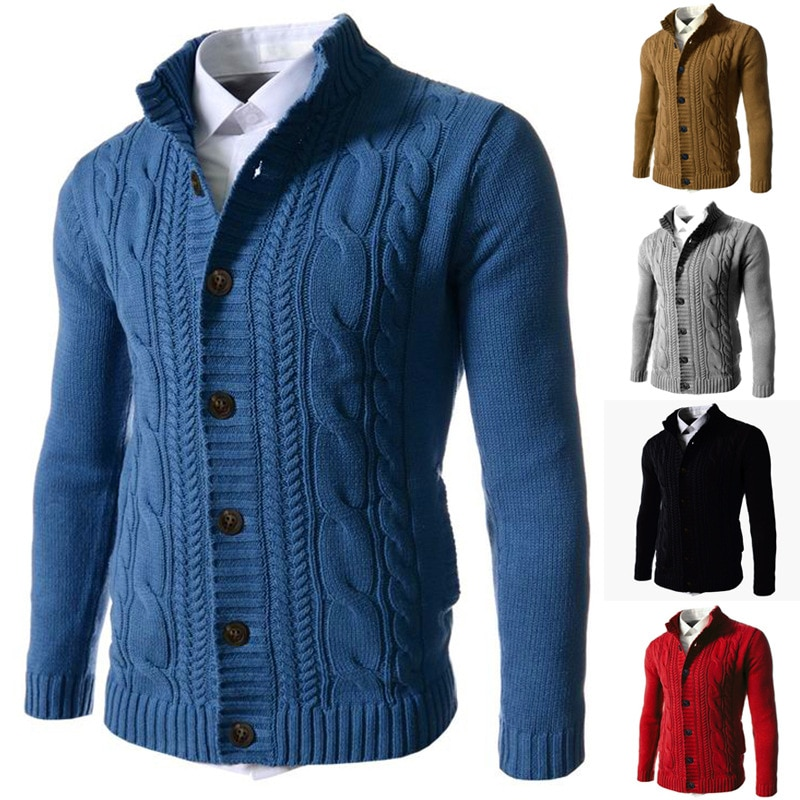 Женский однотонный кардиган, свитер, Мужские осенне-зимние вязаные куртки, пальто с воротником-стойкой, теплые толстые мужские куртки