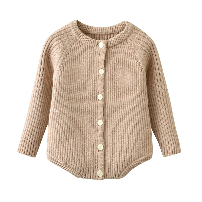 Invierno recién nacido bebé niña sólido tejido de manga larga botón Onesie body ropa 3 6 9 12 18 24 Monthes