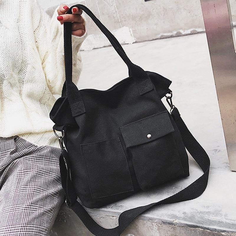 Litthing, bolsos de mano de tela lisa, bolsos de mensajero para mujer sencillos y literarios, 2019 bolsos de lona de estilo japonés y coreano