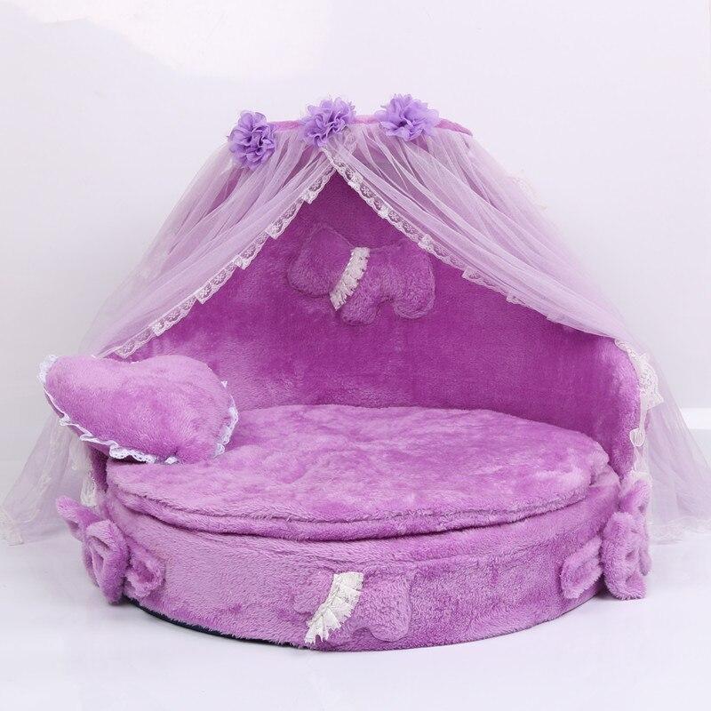 Daim tissu dentelle lit pour animaux de compagnie chien lit luxe chien chenils princesse lit belle cool chien animal chat lits canapé