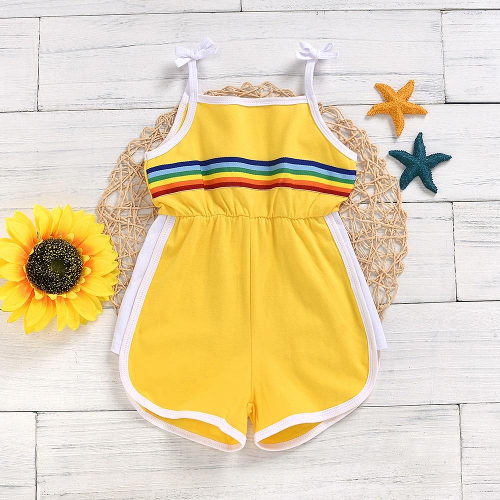 Summmer monos de tirantes para niñas Stay Home sin mangas ropa deportiva para niñas estampado de arco iris mamelucos de bebé 2-5 años D30
