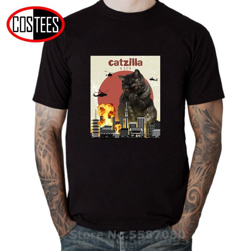 Gato engraçado zilla t-shirts preto exótico shorthair gato t camisa homem para amantes de animais catzilla t camisas masculinas tatooine marca vestuário