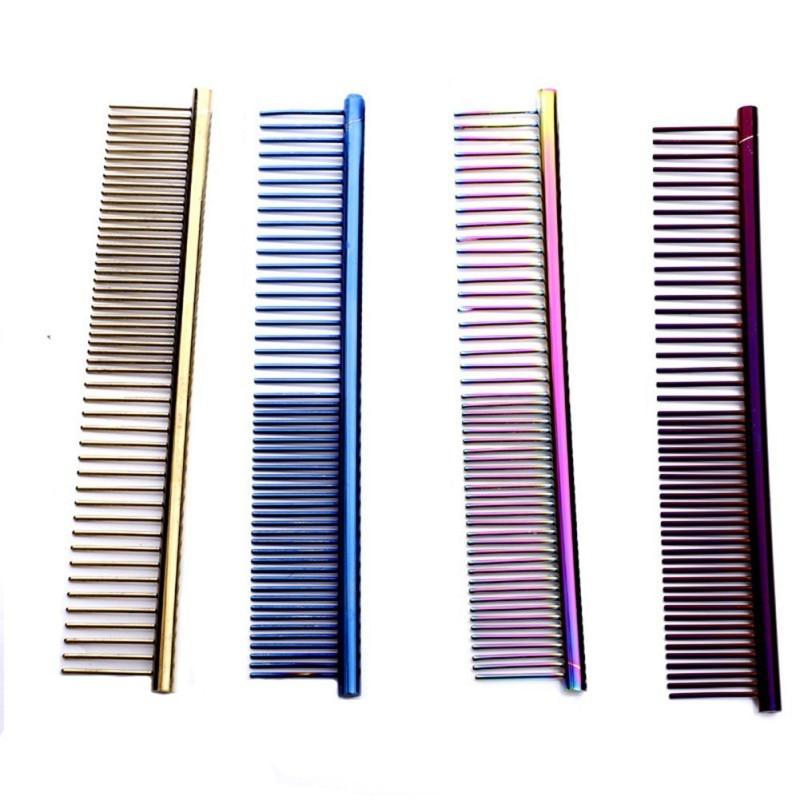 Peine de aguja en línea de acero inoxidable para corte de pelo de densidad para gatos domésticos y perros, peines de herramientas dorados MC