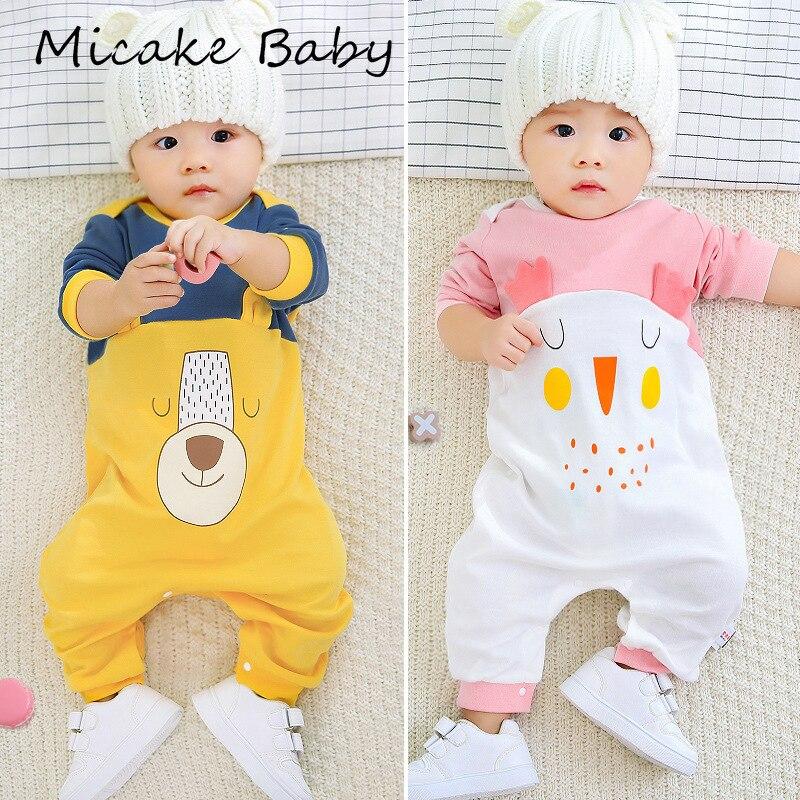 Verão bebê meninas macacão de algodão dos desenhos animados outono bodysuit neutro bebê recém-nascido manga longa calças macacão bonito infantil roupas