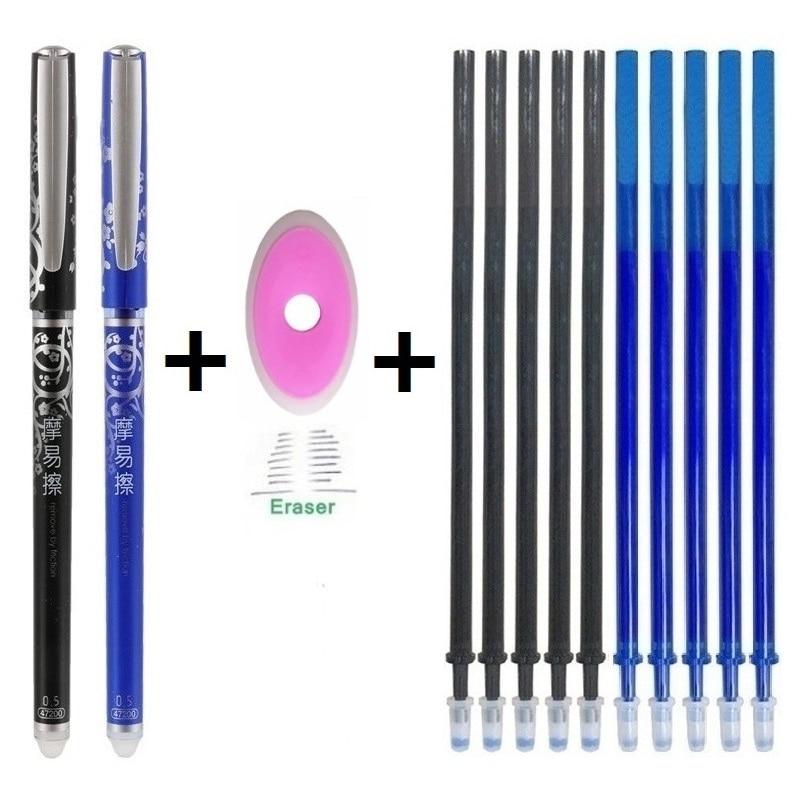 Pluma borrable conjunto lavable con tinta azul y negra bolígrafo de Gel de escritura Rollerball bolígrafos para la escuela suministros de papelería de oficina 04069