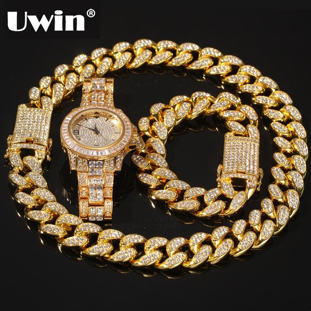 UWIN الهيب هوب قلادة 2 سنتيمتر كريستال ميامي الكوبية سلسلة سوار طقم ساعات الراين الزنك سبيكة مجوهرات القلائد للرجال