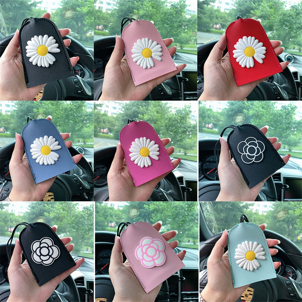 1Pcs Cartoon Daisy Flowers Pull Type Key Bag Portable PU Leather Key Wallets For Women Simple Solid