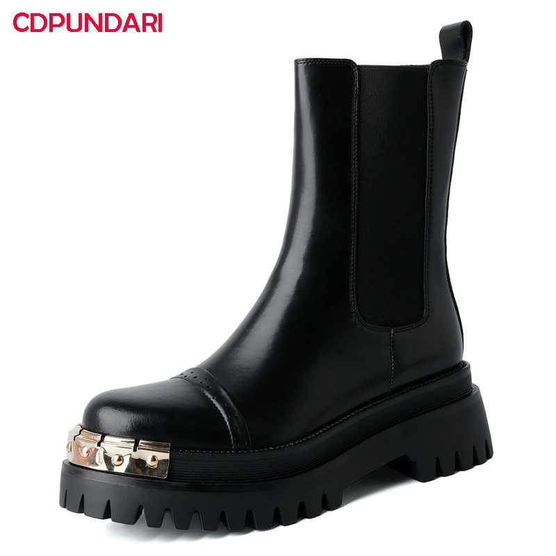 White Black Genuine Leather Platform Ankle Boots Women Punk Motorcycle Boots Demonia Shoes Bottes Plateforme Femme Botines Mujer