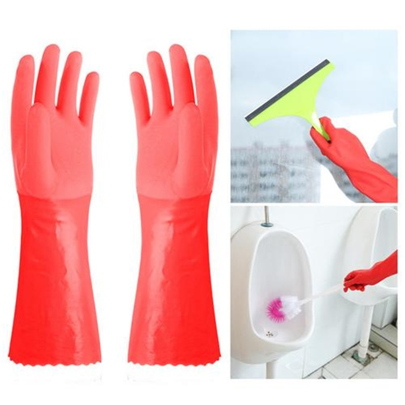 Durable Water-proof Dishwashing Gloves Rubber Scrub Cleaning Gloves Clothes car Washing Household Multicolor Long Sleeve Gloves enlarge