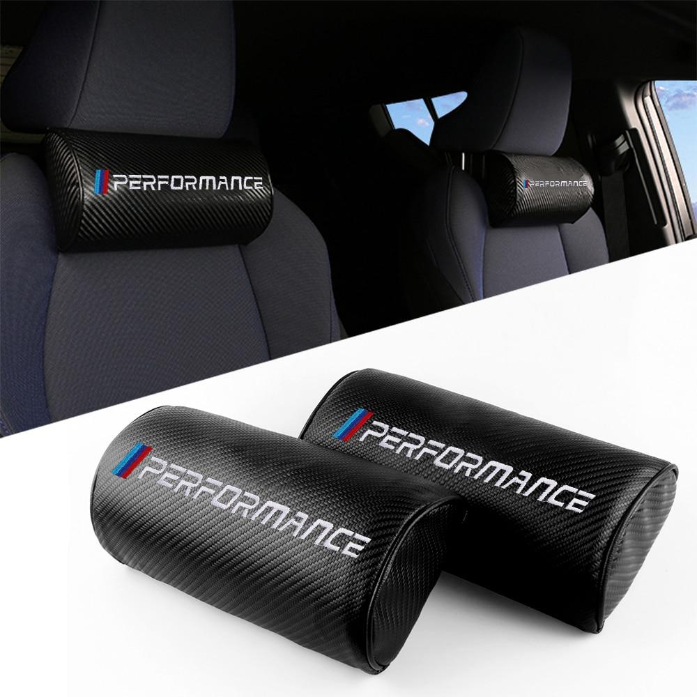 Asiento de coche de fibra de carbono de cuero descanso del cuello almohada cojín M potencia rendimiento emblema para BMW M 1 3 4 5 6 M3 M5 M6 E36 E46
