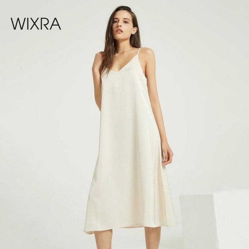 Wixra حمالة أنيقة فستان ستان عارية الذراعين فساتين فضفاضة لربيع وصيف جديد بلا أكمام الأساسية الصلبة الملابس النسائية