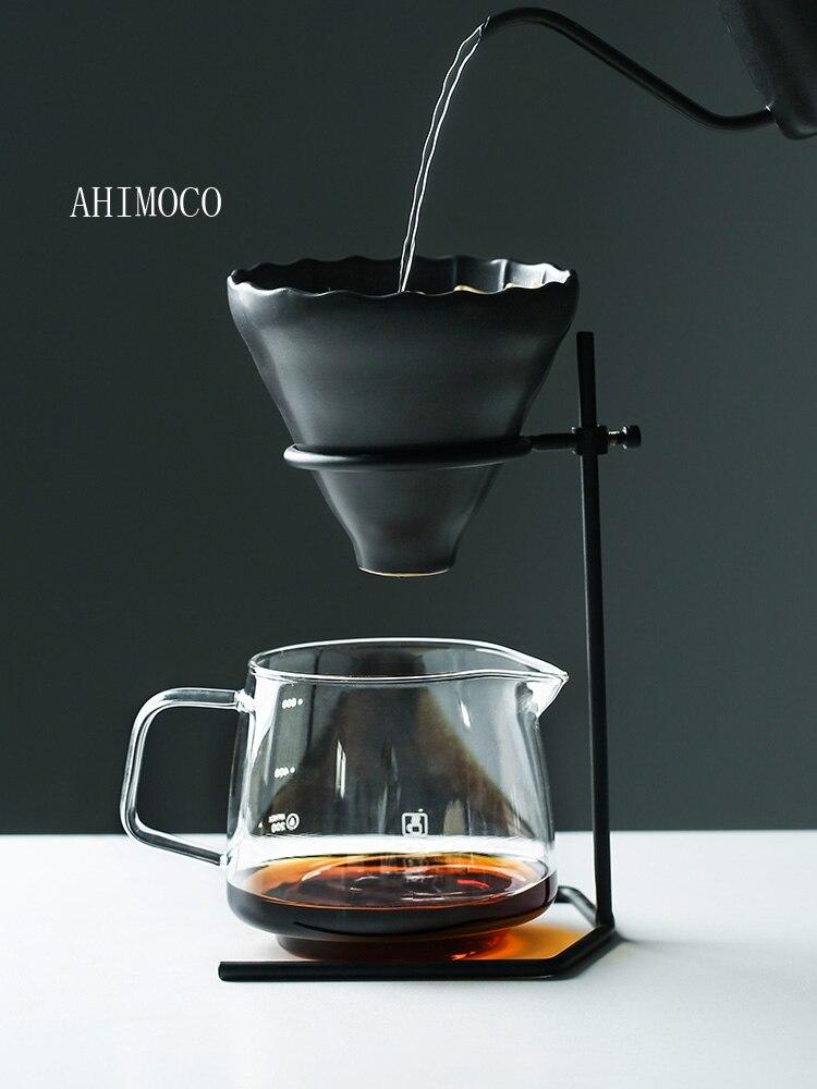 Juego de cafetera manual para café V60, cafetera de vidrio con soporte para cafetera con filtro de café