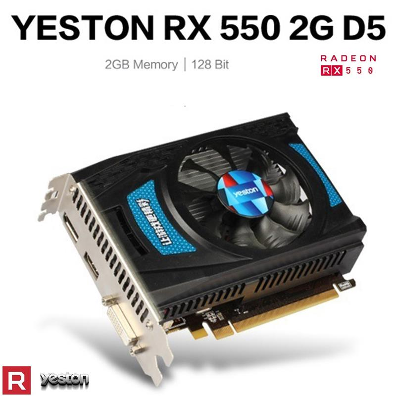 Yeston RX550-2G D5 Desktop PC Gaming Graphics Card TD 1183/6000MHz 2G/128bit/GDDR5 DP+HDMI-compatibl